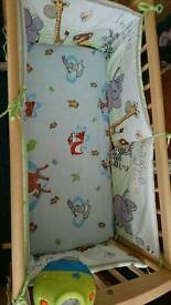 Mothercare crib and bumper