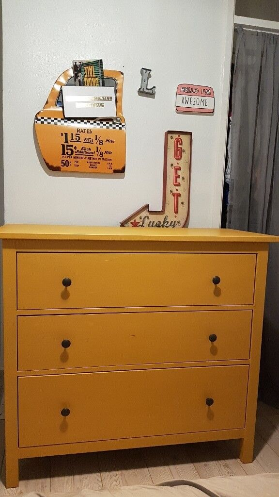Ikea Hemnes 3 Drawer Chest And Matching Bedside Table Painted