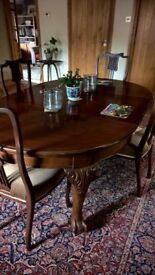 Victorian dining table and four chairs.