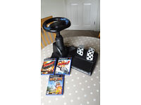 PS2 Steering Wheel & Pedals With Games