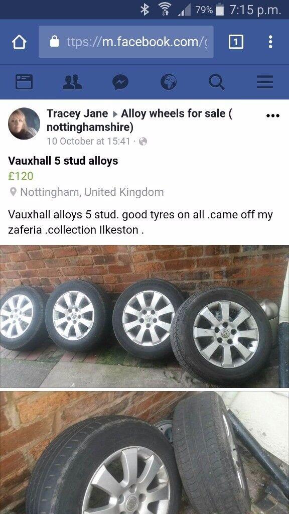 Alloys vauxhall r 15 mint with good tyers