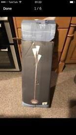 Marbled glass & satin nickel floor lamp from Dunelm new with defect reduced **