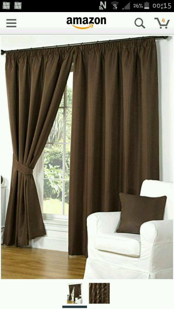 "WAFFLE BROWN LINED CURTAINS 46"" WIDTH 90"" DROP"