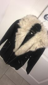 Girls leather /fur river island jacket age 12