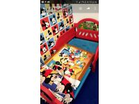 Childrens micky mouse toddler bed, picture curtains & A4 black board