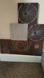 4 suede effect canvas pictures