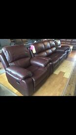 New genuine leather - high quality 3+1+1 fully reclining brown leather suite