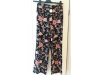 Brand new ladies size 8 floral baggy wide leg trousers