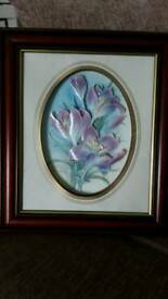 3D effect floral picture in lovely mahogany frame