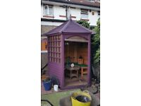 COMPACT GAZEBO TREATED WITH VARNISH AND PAINT WITH BENCH AND TABLE & CUSHIONS