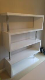 £69 - Curva White Gloss Wall Unit / Shelf - Modern and Stunning