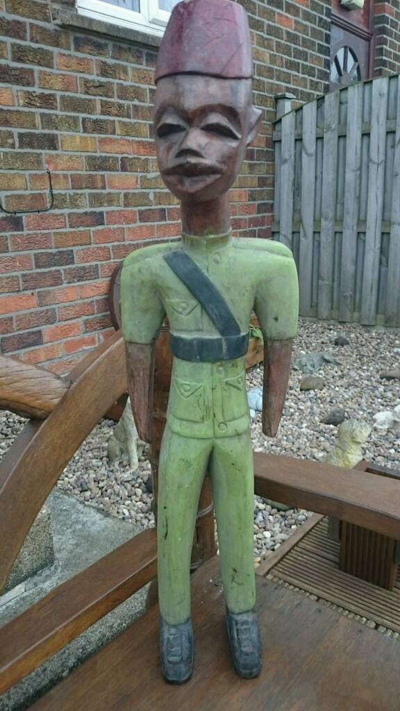 """Vintage Rare African Carved Wooden Figure Stands 3ft 3"""" Tall"""