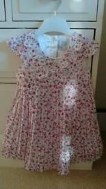 John Rocha white/pink dress 9-12mths