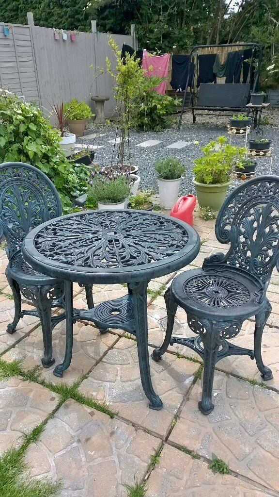 Patio Table And Chairs Looks Like Wrought Iron But Is Plastic Ex Con Dark Green Black Effect