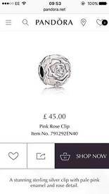 Pink Rose Clip, Pandora Charm - Original
