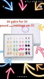 Set of 20 earrings in box all new ....diffrent colours and styles all studs for children or adults