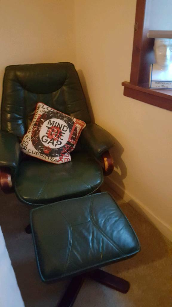 SOLD Green Leather Armchair (Chair) & footstool