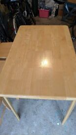 Beech effect table 4ft x 3ft and 4 chairs