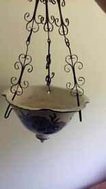 Pretty Blue & White Ceramic Hanging Basket
