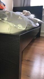 IKEA Malm black single bed with malvik mattress good condition