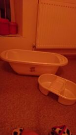 Cream baby bath and top to toe bowl