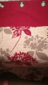 Red ring top lined curtains