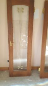Set of French doors with brass handles