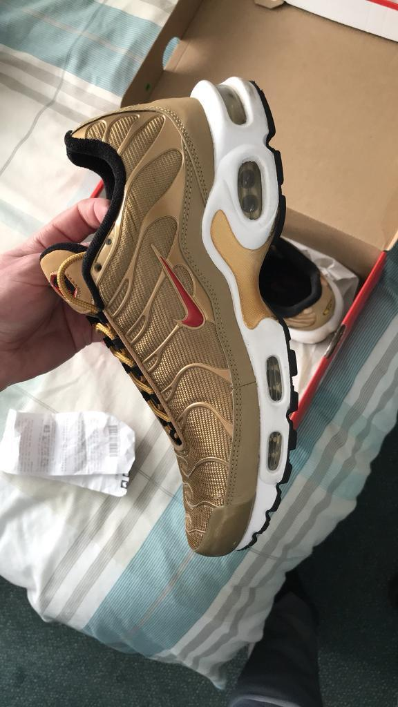 3826d901065 NIKE TN AIR TRAINERS GOLD WHITE SIZE 8.5 UK ONLY WORN ONCE!! Save £50 from  shop