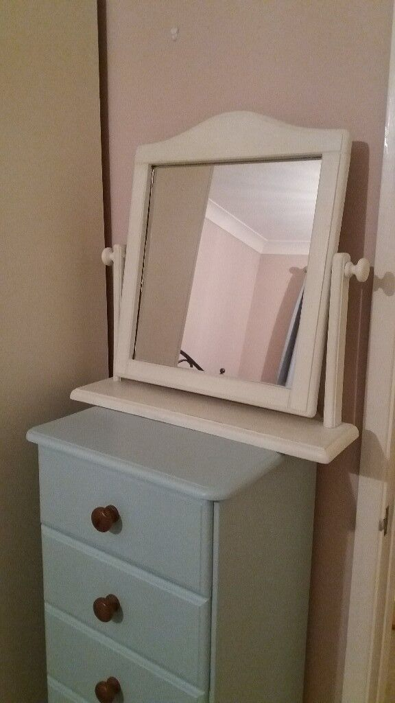 Cream dressing table swivel mirror pine