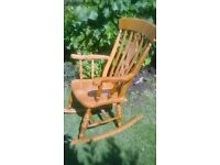 beautiful very large solid beech adult size rocking chair
