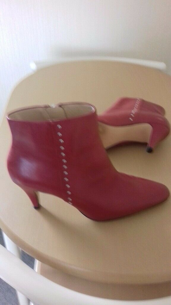 167308fbf16 Zara Red Real Leather Ankle Boots Size 5 . Worn once.