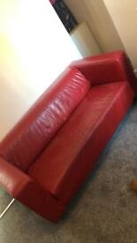 Red IKEA sofa