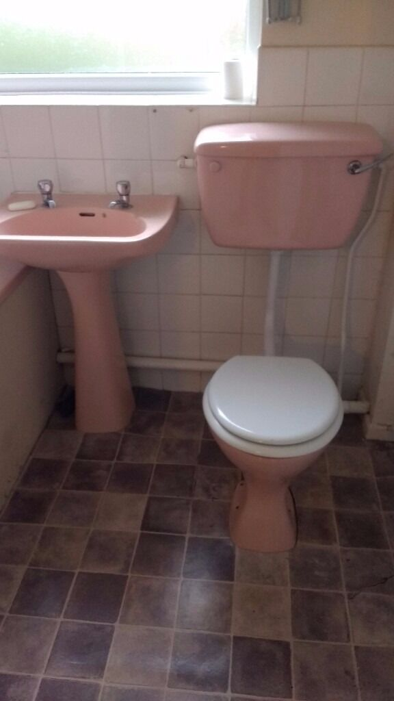 bathroom suite retro pink - original 1960s