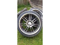 17' Wolfrace 4 stud alloy wheels 4x114.3 (with new tyres 205/40/17)