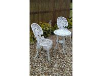 metal garden table and 2 chairs bistro set