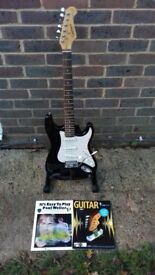 Stratocaster Style Guitar-Tanglewood+Tremolo Arm+Books+Strings+Plectrums