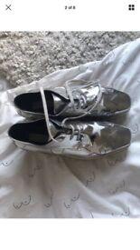 Stella McCartney silver star platform shoes - size 6 RRP £635