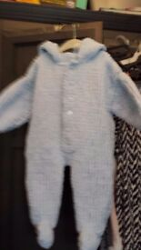 Hand knitted baby boys snowsuit 12-18 months.blue