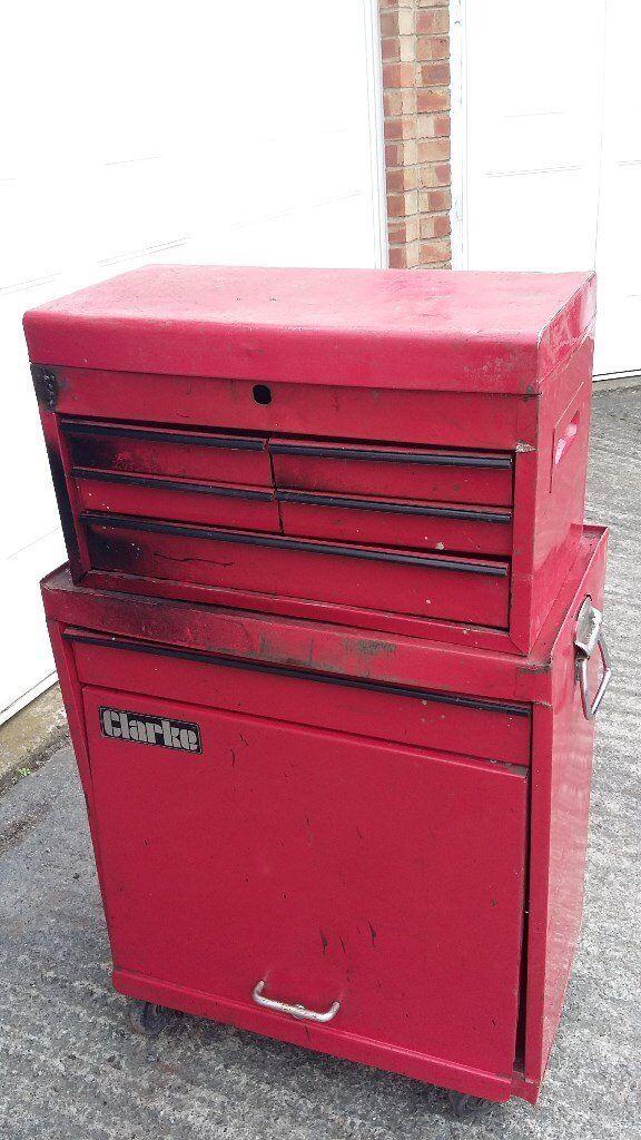Clarke TOOL BOX CHEST ROLL CAB TROLLEY ON WHEELS STORAGE