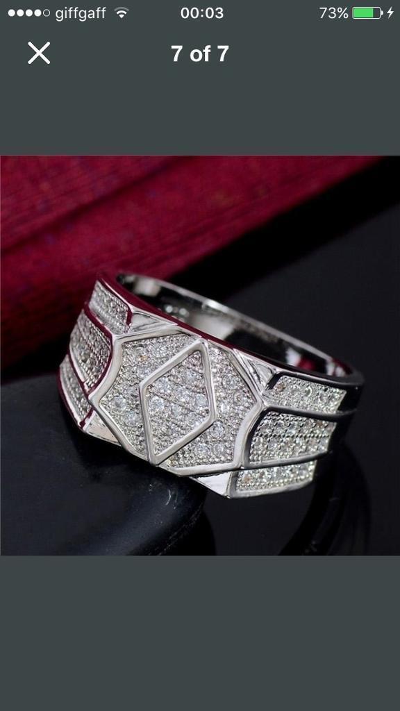 Genuine Mens Cheap 925 Silver Diamond Ring