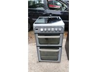 HOTPOINT HUE52G DOUBLE OVEN CERAMIC ELECTRIC COOKER IN GOOD WORKING ORDER