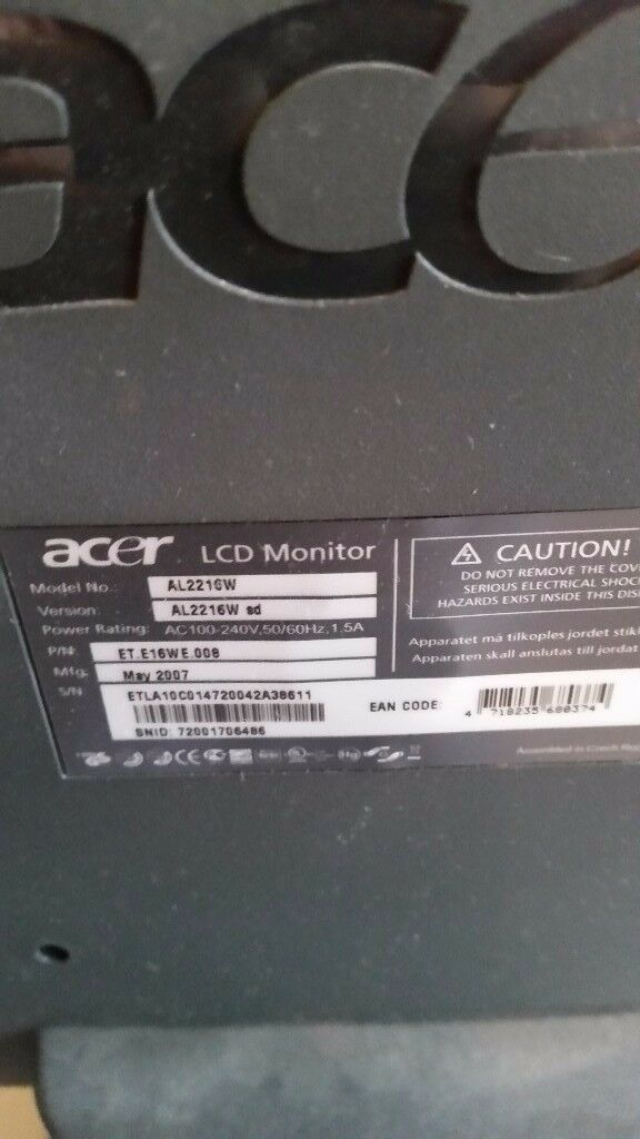 """Acer lcd 22"""" pc screen"""