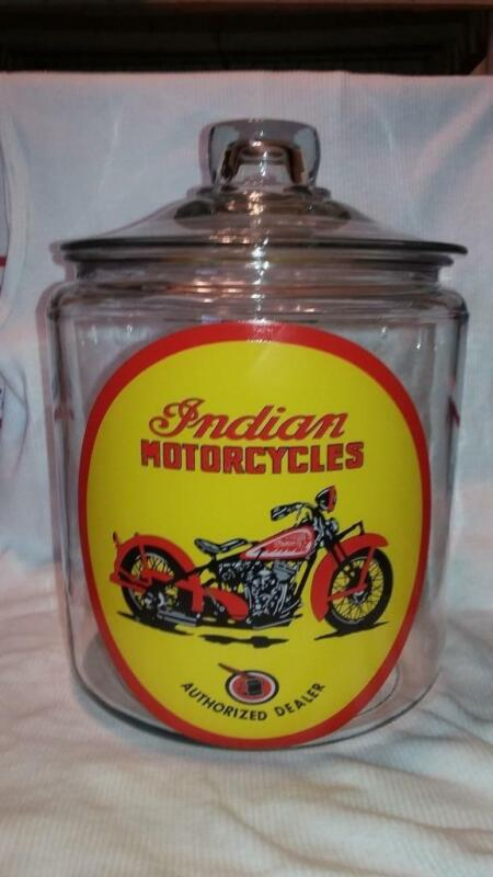 Super Nice Rare Indian Motorcycle Glass Counter Jar