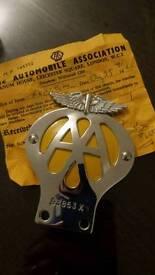 1960 AA badge with original certificate.