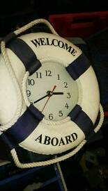 Med sized welcome aboard clock . Lifebouy.