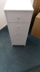 New Alban White 5 Drawer Narrow Chest