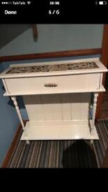 Up cycled pine console table , painted cream with natural mosaic top .
