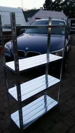 Galvanized steel shelves