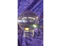 100mm clear crystal ball with stand and padded box. brand new