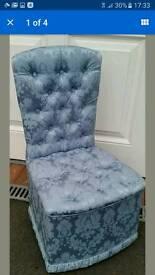 Nr New Seetall Damask Blue Bedroom Boudoir Dressing Chair Ex Display